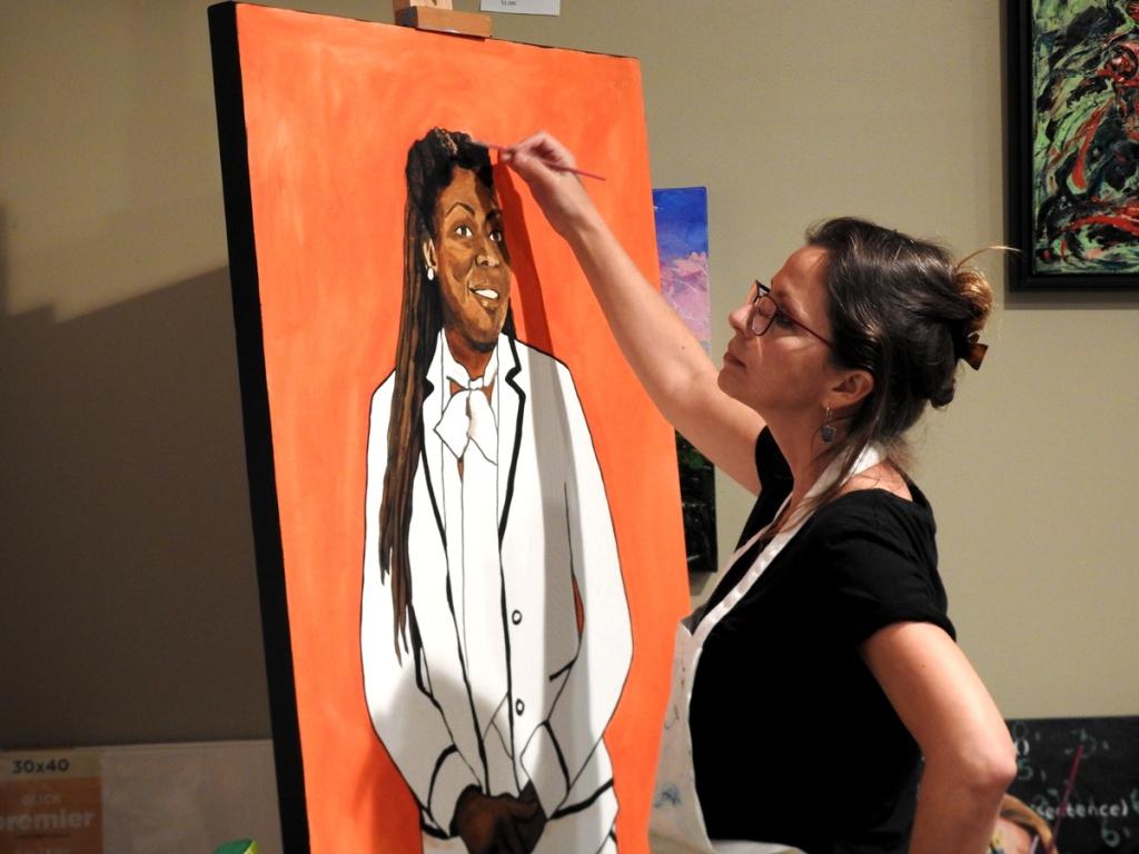 Fer Caggiano working in her Art Studio