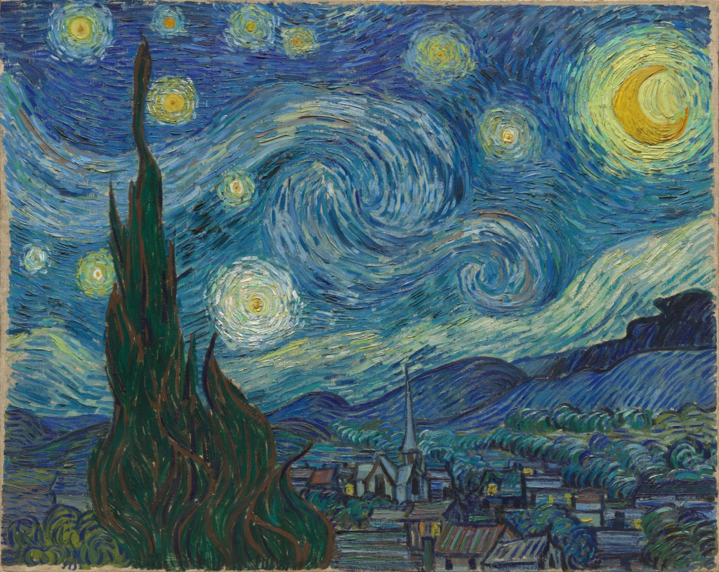 Vincent van Gogh, The Starry Night, Saint Rémy, June 1889, oil on canvas, MoMA