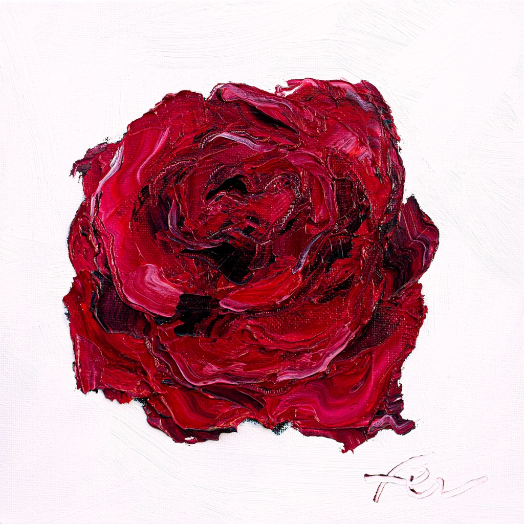 Deep Red Rose Art